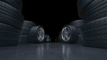 3d render flying down the corridor of car tires