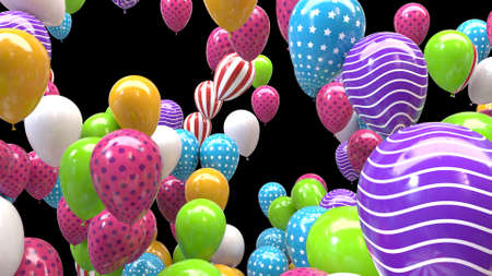 3d render multicolored balloons on a black background
