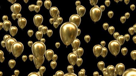3d render golden balloons on a black background