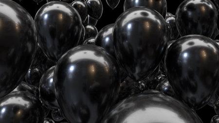 3d render black balloons on a black background