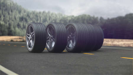 3d render 4 car wheels driving on the road