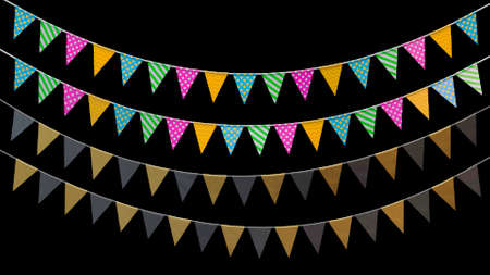 3d render holiday flags hanging on a rope on a black background