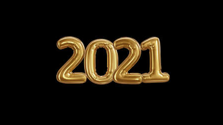 3d render Inscription 2021 from golden balloons on a black background