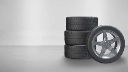 3d render stacking tires and one side press wheel on white background Stok Fotoğraf