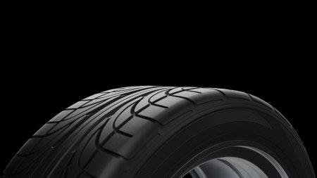 3d render Spinning car wheel on a black background Stok Fotoğraf