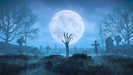 3d render Skeleton arm crawls out of the ground at night against the background of the moon in the cemetery