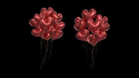 3d render Bundle of red air hearts on black background