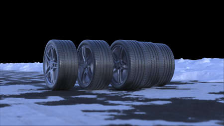 3d render four car wheels drive on a snowy road with alpha channel Stok Fotoğraf