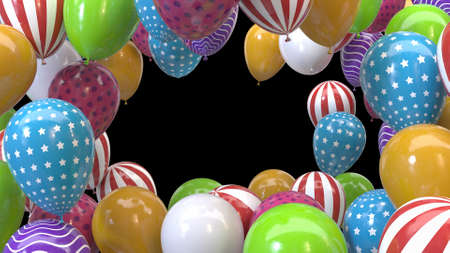 3d render frame of multicolored balloons on a black background Stok Fotoğraf