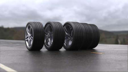 3d render four car wheels rolling on wet asphalt