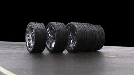 3d render four car wheels rolling on a black background Stok Fotoğraf