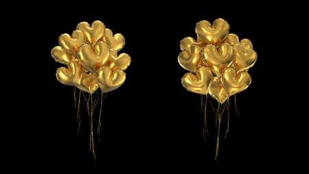 3d render Bundle of gold heart-shaped balloons on a black background Foto de archivo