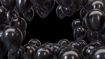 3d render frame of black balloons on a black background