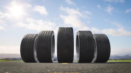 3d render car tires rolling on asphalt in the summer Stok Fotoğraf