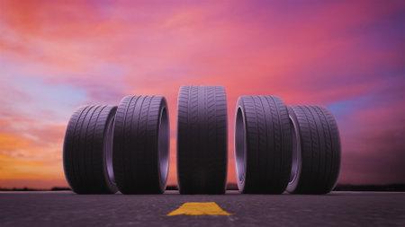 3d render car tires rolling on asphalt in the sunset
