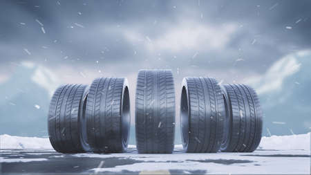 3d render car tires roll on a snowy road under the falling snow