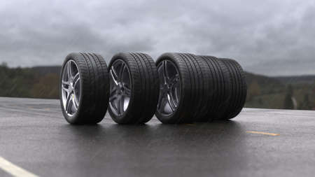 3d render car tires rolling on wet asphalt in the rain with a thunderstorm Stok Fotoğraf