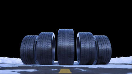 3d render four car wheels drive on a snowy road on a black background