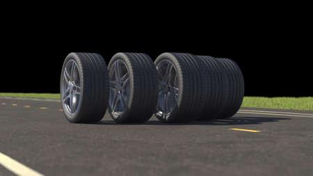 3d render car tires rolling on asphalt in the summer on a black background