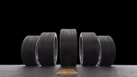 3d render car tires rolling on wet asphalton a black background
