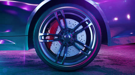 3d render 80s retrowave background car whhels