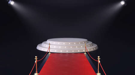 3d render red carpet with podium and glowing spotlights