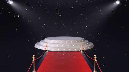 3d render red carpet with podium and falling confetti Archivio Fotografico