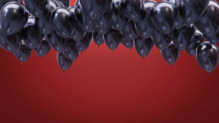 3d render black balloons on the ceiling on a red background Archivio Fotografico