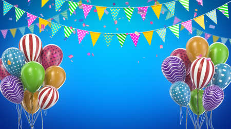 3d render Two birthday balloons with candy and flags