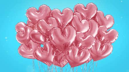 3d render Bundle of balls of hearts on a blue background