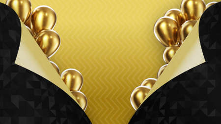 3d render two black pages turned inside out on a yellow background with golden balloons