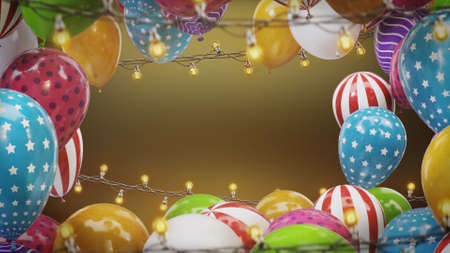 3d render Frame of colorful balloons with bulbs hanging on a wire