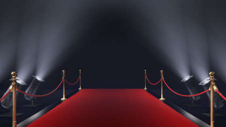 3d render red carpet on the black background Archivio Fotografico