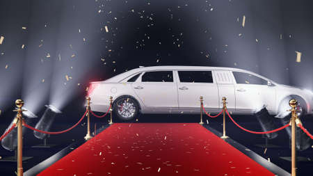 3d render red carpet with limousine and confetti