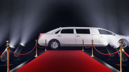 3d render red carpet with a limousine on the black background Archivio Fotografico