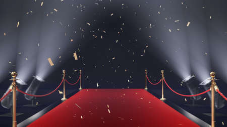 3d render red carpet with confetti and volume light