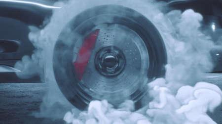 3d render Drift wheels with smoke sport cars