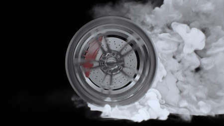 3d render Drift wheels with smoke on a black background