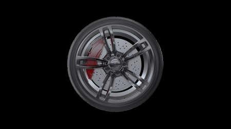 3d render car wheels on a black background Archivio Fotografico