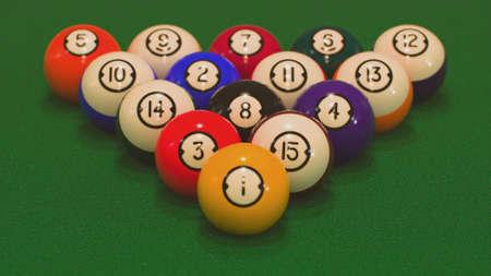 3d render rack of all billiard balls close-ups