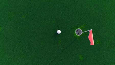 3d render golf ball rolls across the course into a hole top view