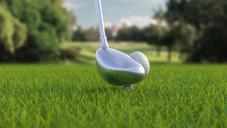 3d render hitting a golf ball with a club on the field side view