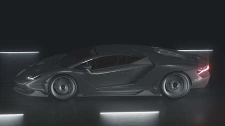 3d render A sports car drives at speed on a road with neon lights Archivio Fotografico