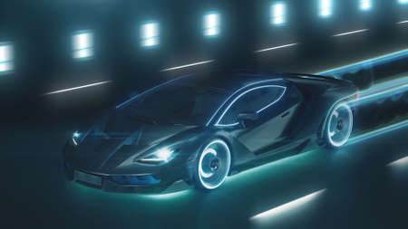 3d render Sports cyber neon car rushes on the night road with neon lights