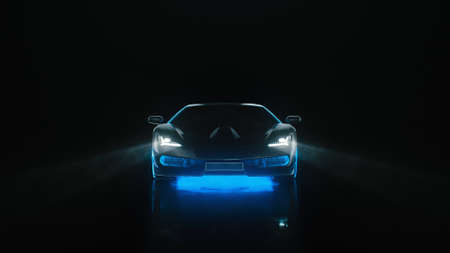 3d render sports car with neon lights goes to the camera on a black background