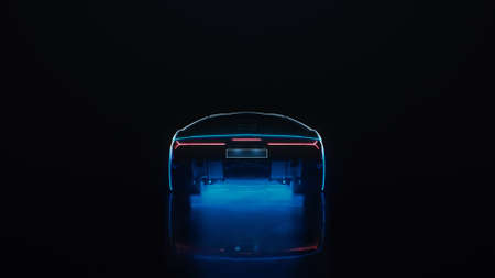 3d render sports car with neon lights drives off into the distance on a black background