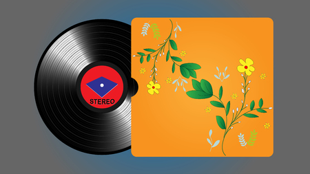 Vinyl records, realistic vinyl design with pattern, old design Illustration