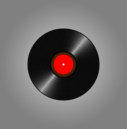 lable: Vinyl records, realistic vinyl design, old design, red lable