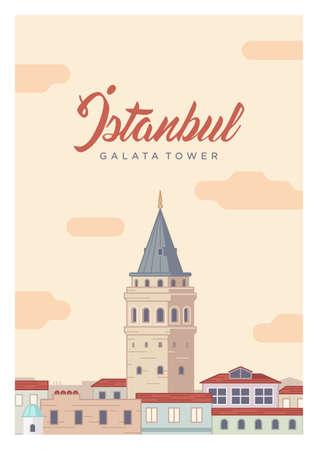 Istanbul Galata Tower 向量圖像