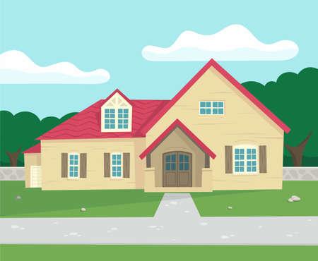 sweet grass: flat house illustration Illustration
